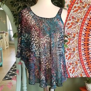 🌺Bebe colorful snake pattern sheer top🌺